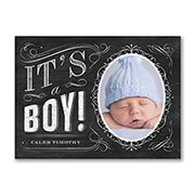 Chalkboard - Photo Birth Announcement - Boy